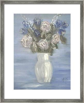 Framed Print featuring the painting Blue Vase by Angela Stout