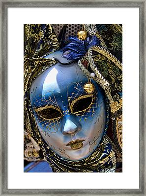 Blue Venetian Mask Framed Print by David Smith