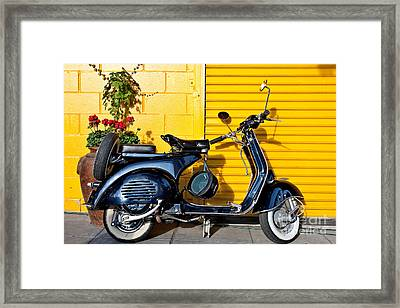 Blue Vespa Profile Framed Print