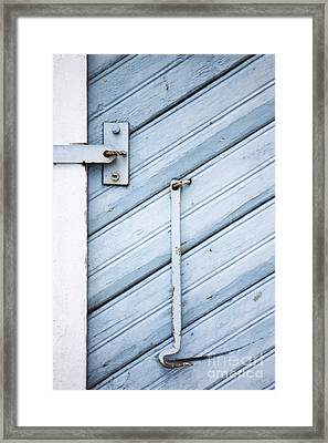 Framed Print featuring the photograph Blue Wooden Wall With Metal Hook by Agnieszka Kubica