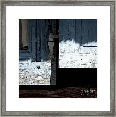 Framed Print featuring the photograph Blue Wooden Window Shutters by Agnieszka Kubica