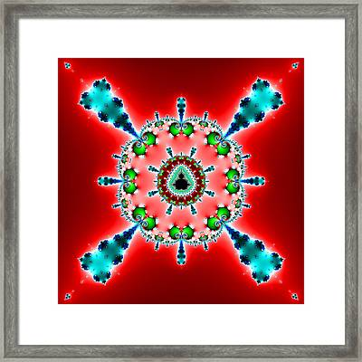 Blue X On Red Framed Print by Mark Eggleston