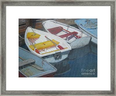 Blue Yellow And Red Boats Tremont Maine Framed Print