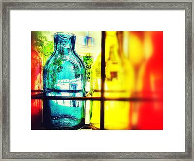 Blue Yellow And Red Framed Print by Olivier Calas