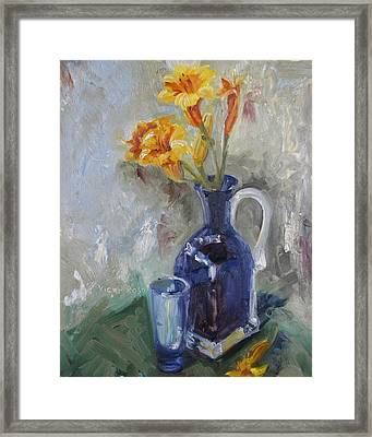 Blue Yellow Floral Framed Print