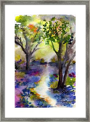Bluebell Forest Watercolor Painting Framed Print by Ginette Callaway