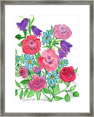 Bluebells And Roses Framed Print by Debbie Wassmann