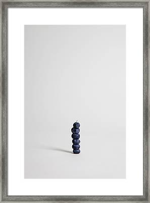 Blueberries Arranged Into A Stack, Studio Shot Framed Print by Halfdark