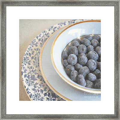 Blueberries In Blue And White China Bowl Framed Print