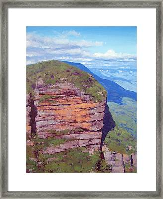 Bluecmountains Cliff Framed Print by Graham Gercken