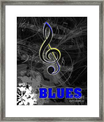 Blues Music Poster Framed Print by Linda Seacord