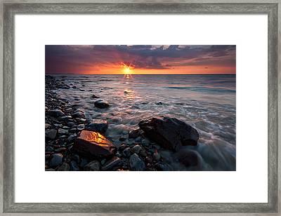 Bluffs Beach Sunset 1 Framed Print by Darren Creighton