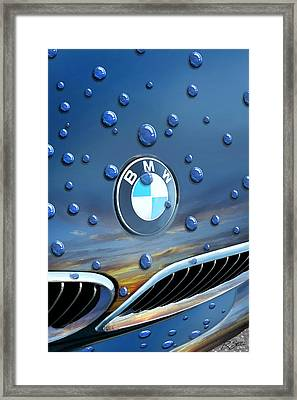 Bmw - Roundel And Raindrops Framed Print