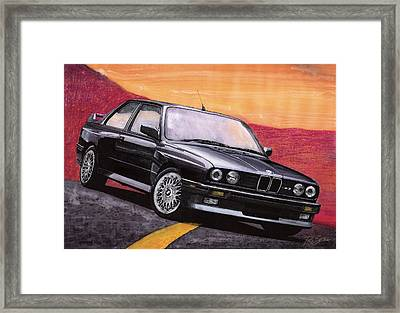Framed Print featuring the painting Bmw E30 M3 by Rod Seel