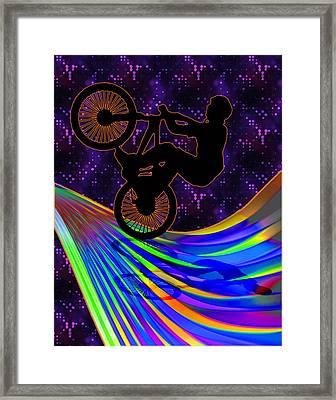 Bmx On A Rainbow Road  Framed Print by Elaine Plesser