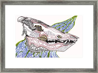 Framed Print featuring the drawing Boar Skull Ink by Mary Schiros