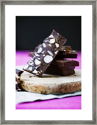 Board Of Chocolate With Nuts Framed Print by Cultura/Line Klein