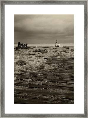 Boardwalk At Dungeness Framed Print by David Turner