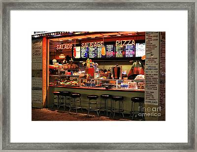 Boardwalk Dining Colors Framed Print by John Rizzuto