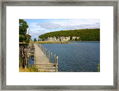 Boardwalk On A Counry Lake Framed Print by Western Roundup