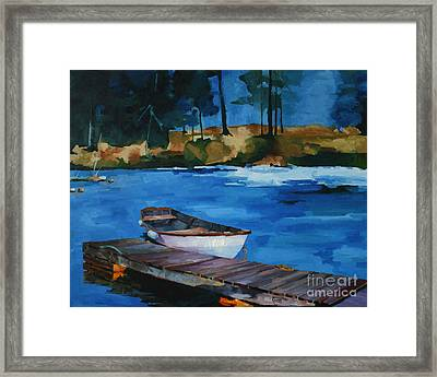 Boat And Bridge Framed Print by Pepe Romero