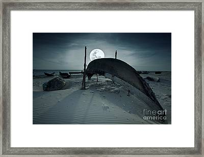 Boat And Moon Framed Print