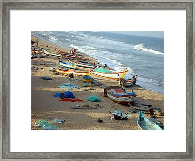 Boat And Ocean - South India Framed Print by Zoh Beny