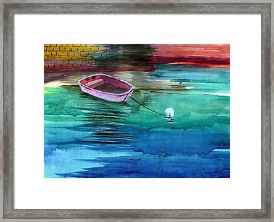 Boat And The Buoy Framed Print by Anil Nene