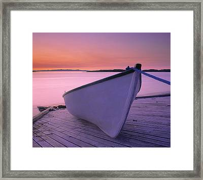 Boat At Dawn, Harrington Harbour, Lower Framed Print by Yves Marcoux