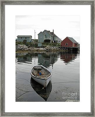 Boat At Peggy's Cove Framed Print by Louise Peardon