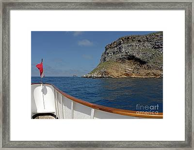 Boat Cruising By Darwin's Arch Framed Print by Sami Sarkis