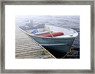 Boat In Fog Framed Print by Elena Elisseeva