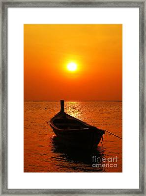 Boat In Sunset  Framed Print by Anusorn Phuengprasert nachol