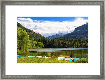 Boat Lined Lake Framed Print