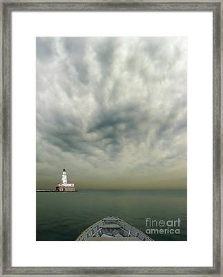 Boat On Calm Sea With Stormy Sky And Lighthouse Framed Print by Jill Battaglia