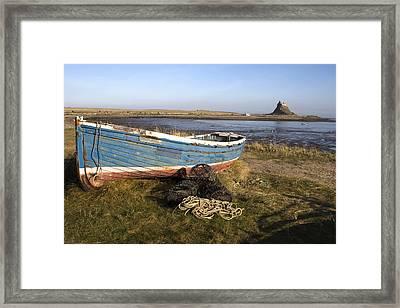Boat On Shore, Near Holy Island, England Framed Print by John Short