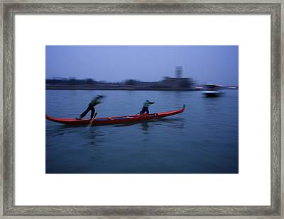 Boat Racers Practice On The Lagoon Framed Print