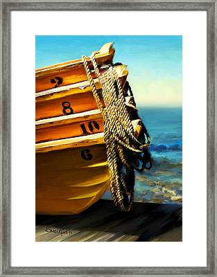 Boat Ropes Framed Print by Suni Roveto