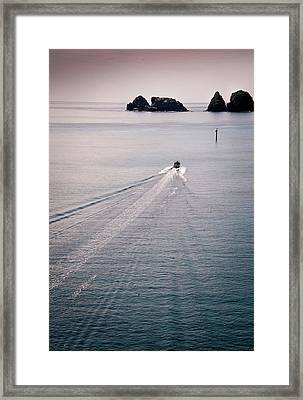 Boat Trail In Sea Framed Print by photo by Aum