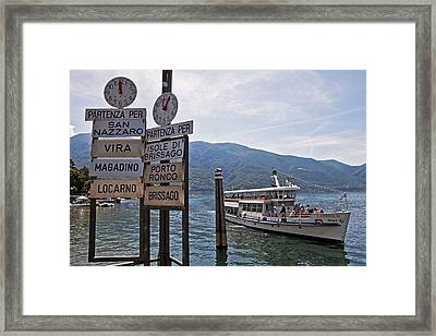 Boat Trip On Lake Maggiore Framed Print