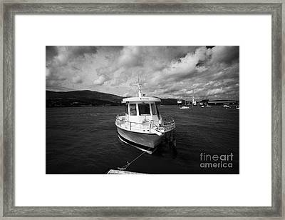 Boat Used As A Small International Passenger Ferry Crossing The Mouth Of Carlingford Lough Framed Print by Joe Fox