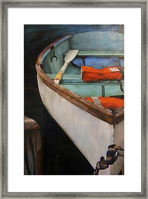 Boat With Red Framed Print by Jose Romero