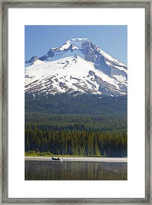 Boating In Trillium Lake With Mount Framed Print by Craig Tuttle