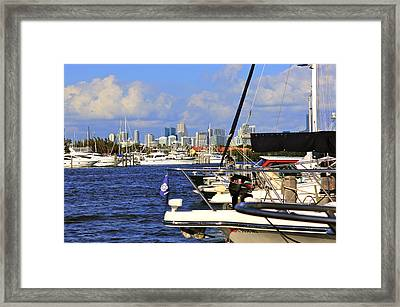 Boats And Miami Framed Print by Dieter  Lesche