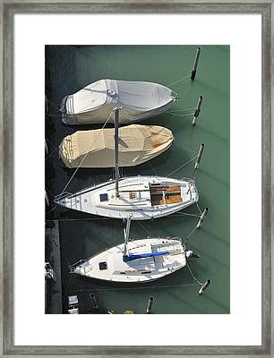 Boats And Water From Above Framed Print