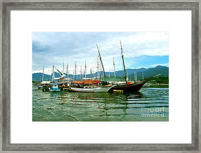 Framed Print featuring the photograph Boats At Paraty Brasil by Nareeta Martin