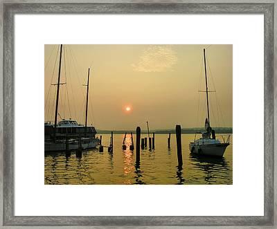 Boats At Sunrise II Framed Print