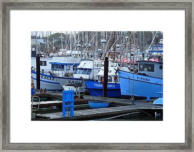 Boats Docked In Harbor Framed Print by Jeff Lowe