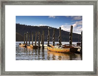 Boats Docked On A Pier, Keswick Framed Print by John Short