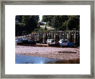 Boats In Bay Of Fundy Framed Print by David Gilman